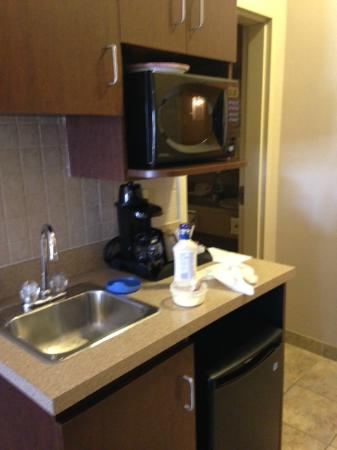 Canalta Oyen: Nice little food prep area with microwave, separate sink from bath sink, and a fridge. Cupboards