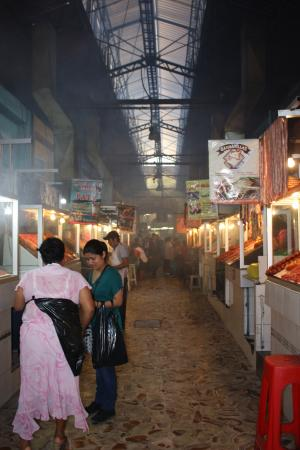 Mercado 20 de Noviembre: The long row of meat/food vendors