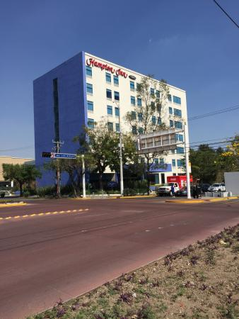 Hampton Inn by Hilton Guadalajara/Expo: This is from the crossing street