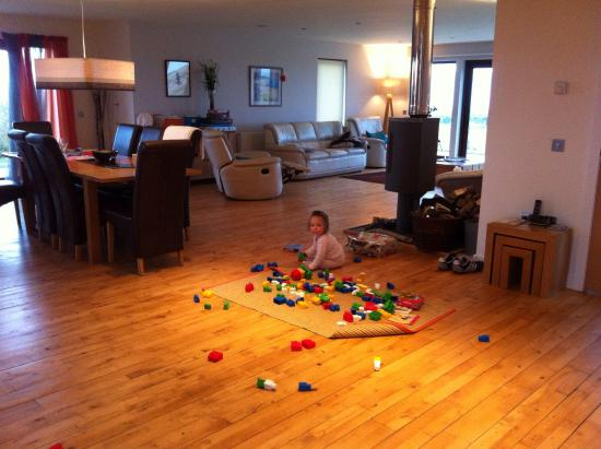 Kirkcolm, UK: Living room covered in baby toys (by us)