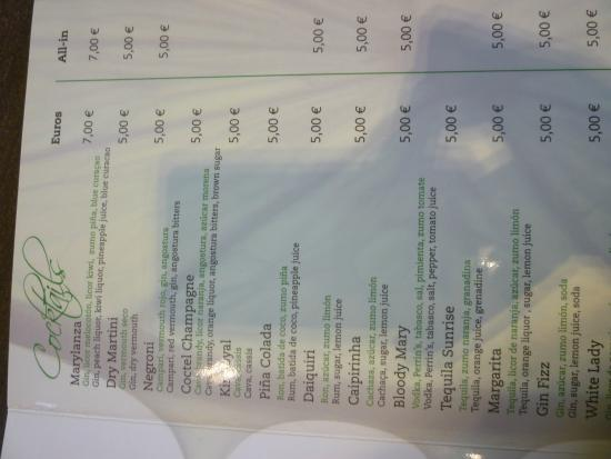 Marylanza Suites & Spa: A snap of the drinks menu