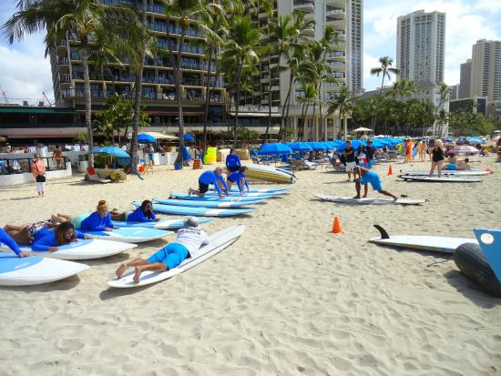 Outrigger Waikiki Beach Resort In Front Of Hotel With Array Hire Gear