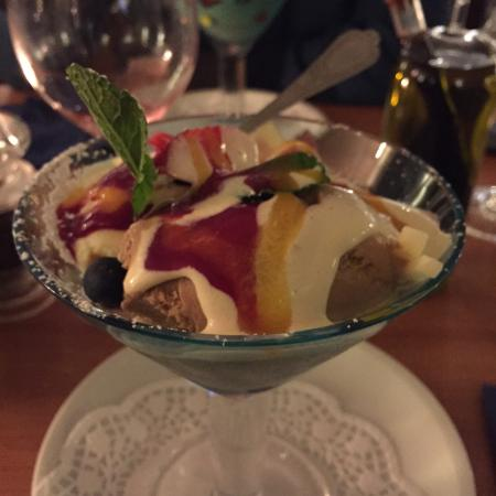 Mike's Bistro: The sweet, made with ice cream, fruit and three kind of liquors.