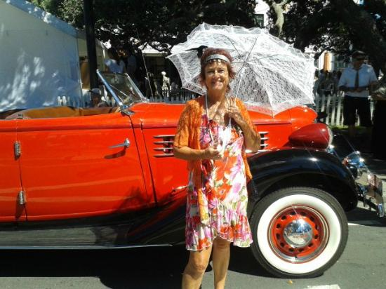 Art Deco Trust: In front of one of many Vintage Cars on display at Art Deco Feb 15 in Napier NZ