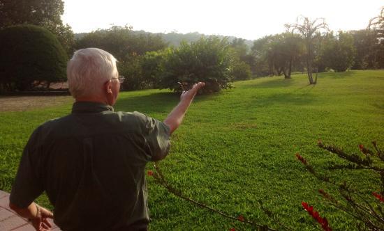 Sunset Hotel Monteverde: Mr. Vitalis with a Hummingbird