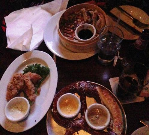 Stout: Sorry, we started eating before I took the photo. Pot Stickers (T) Ch Fingers (L), Pretzel (B)