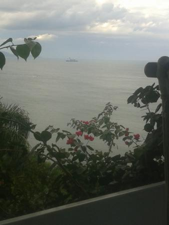 Cabanas do Araca Villa : Navio de passageiros passando em frente a cabana