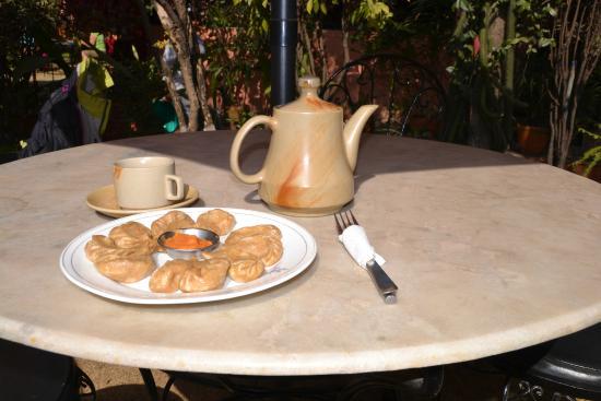 Shechen Guest House : Veg momo and fresh ginger-lemon-honey tea? Yes, please!