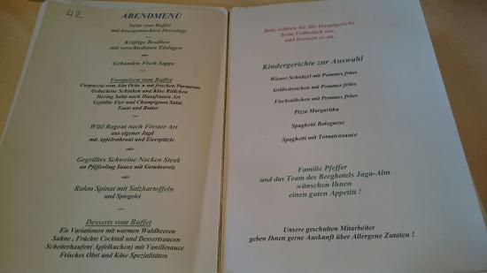 Berghotel Jaga Alm: bij het ontbijt kiezen wat je s'avonds wilt eten