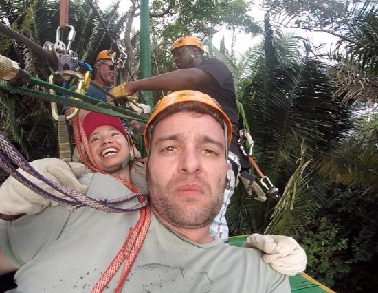 Caribe Sky Canopy Tour: 3 of us plus the guide!