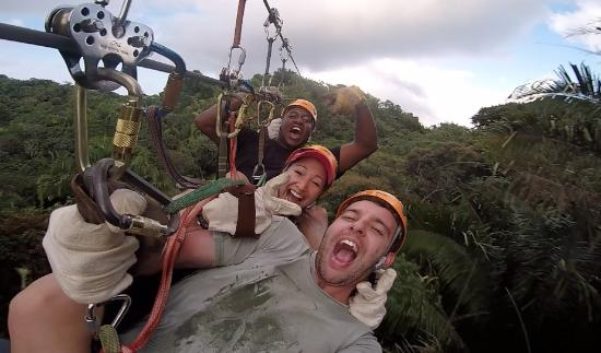 Caribe Sky Canopy Tour: The 3rd guy is our guide! hahaha fun guy!