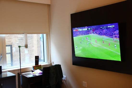 Big tv screen! - Picture of Hilton Garden Inn New York - Times ...