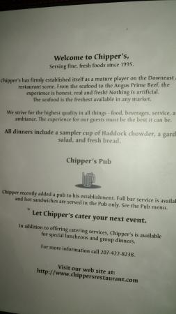 Chipper's Restaurant: Nightly Specials Board