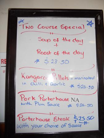 The Richmond Arms : Pub Menu with Kangaroo