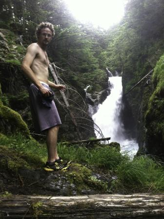 Perseverance National Recreation Trail: My friend thinking of jumping into Gold Falls off Perseverance Trail on a run. Bad Idea.