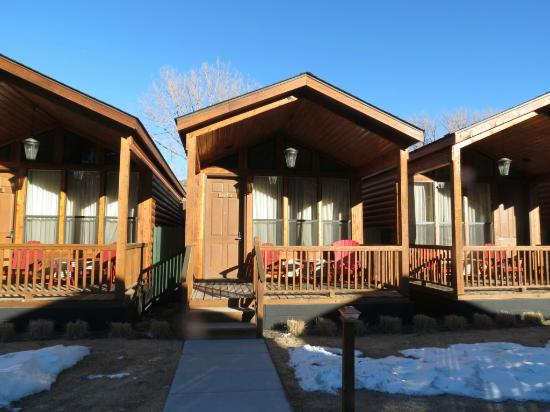 Typical cabin front view notice the front porch for Jackson hole cabin resort