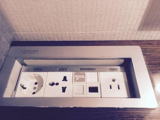 Lotte City Hotel Mapo: 机のコンセントです。日本プラグの100v系もあります。
