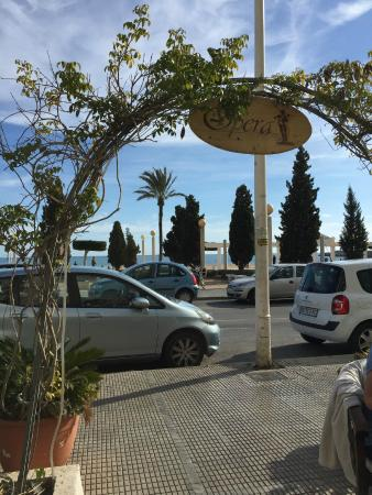 Cafe Opera: The view across to the Mediterranean from the outside terrace