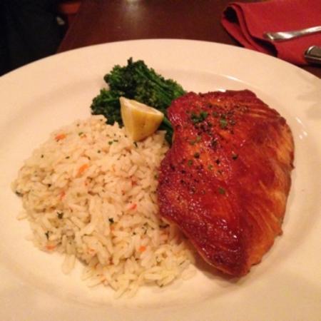 Loretta: Maple Glazed Salmon, rice Pilaf & broccolini