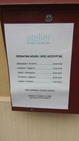 Museum 'Atelier Spyros Vassiliou': Orari