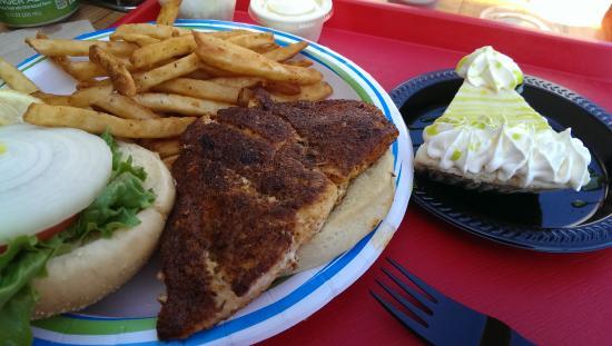 Key Largo Fisheries Backyard: Blackened Hogfish Sandwich with Key Lime Pie