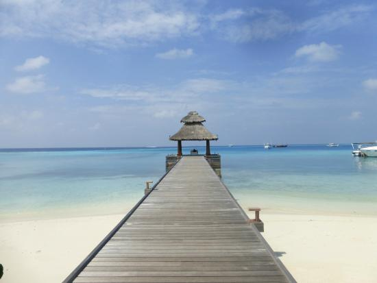 Baros Maldives : The boardwalk on arrival.