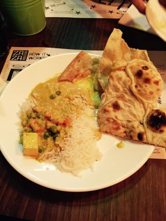 Za Za Bazaar: Chicken and vegetable korma with naan bread and popadums