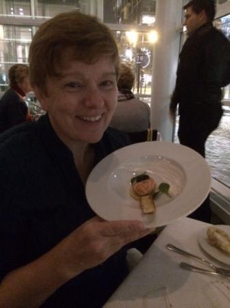 L'Etoile Restaurant: King Salmon Mousse, capers, lemon confit, Oscietra caviar, creme fraiche, pretzel