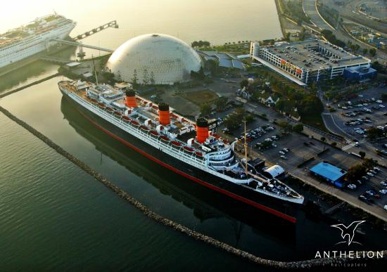 Anthelion Helicopters An Aerial Photograph Of Queen Mary In Long Beach During Our Helicopter Tour