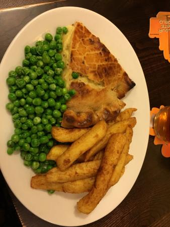 Bolton, UK: Cheese and red onion pie and chips