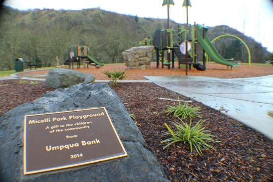 Brand New Playground Equipment. Thank you Umpqua Bank, Thank you City of Roseburg.