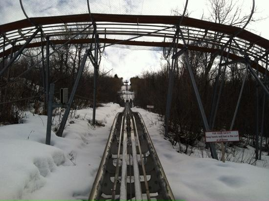 The ascent to the top of the Alpine Coaster.