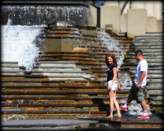 Kiener Plaza: Playing in the water.  Downtown St. Louis.  2014