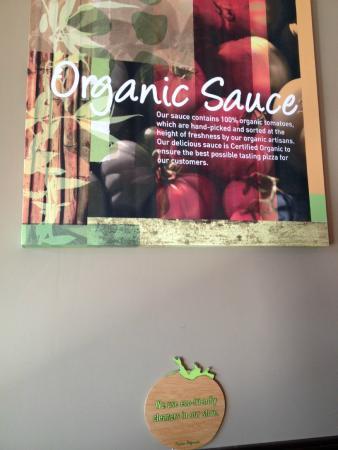 Pizza Fusion: Organic Sauce sign