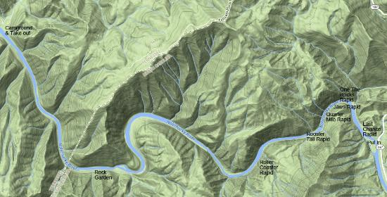 Nolichucky Gorge Campground: Map of area