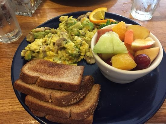 Walnut Avenue Cafe: Mushroom, avocado, cheese scramble with fruit.