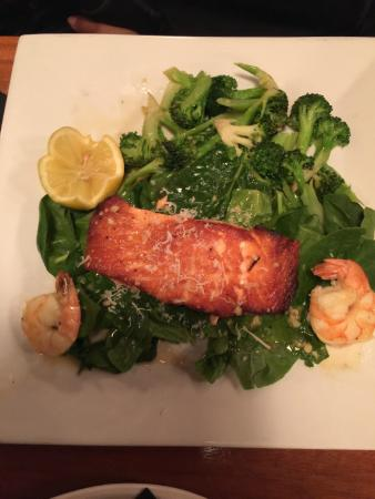 Tino's Italian Bistro : Pan Seared Salmon with Wilted Spinach and Broccoli.  Garnished with Shrimp.