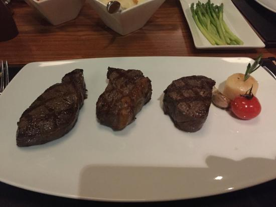 3 separate cuts of Wagyu Steak - cooked to perfection.