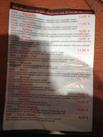 La Pizza Pava: Carte Menu P4