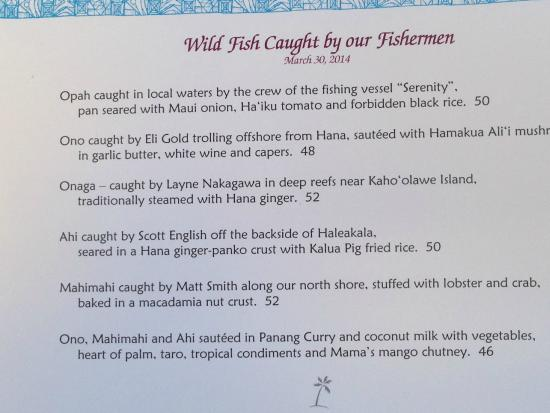 check out the menu picture of mama 39 s fish house paia