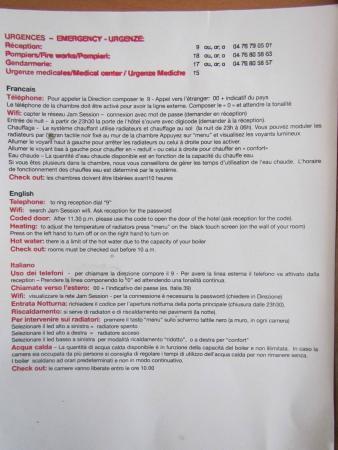 Hotel Jam Session: Information sheet in room