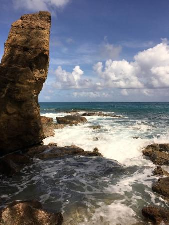 Cap Estate, Saint Lucia: Cool Rock Formation on the Beach