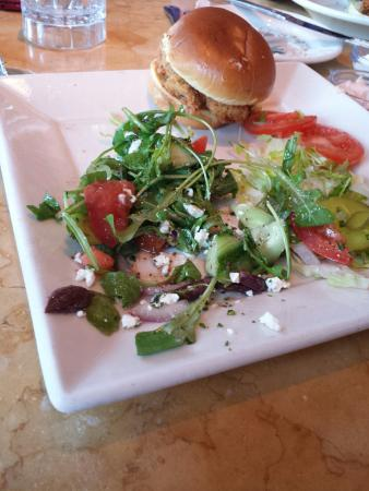 The Cheesecake Factory: Chicken sliders and the Greek salad.