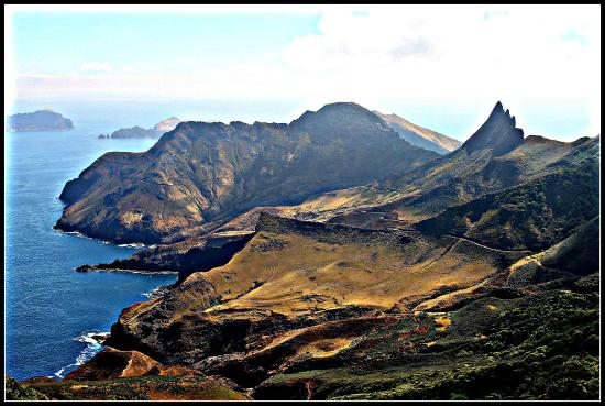 Crusoe Island Lodge: View from mountain top overlooking Santa Clara Island to the top left.
