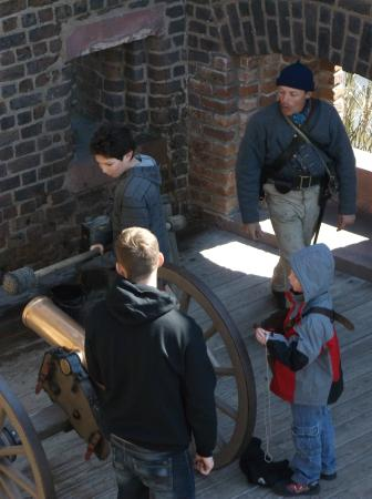 Old Fort Jackson: A demonstration of how the cannons would have been fired by a team.