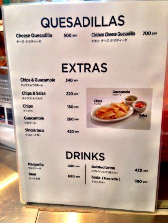 Frijoles Burritos & Tacos Roppongi: Frijoles menu.  Guacamole costs extra but it's so worth it.