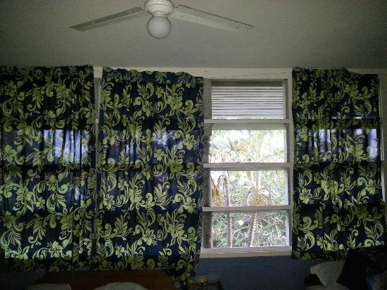Samoan Outrigger Hotel: The missing curtains... Behind the trees is one of the busiest roads of the island.