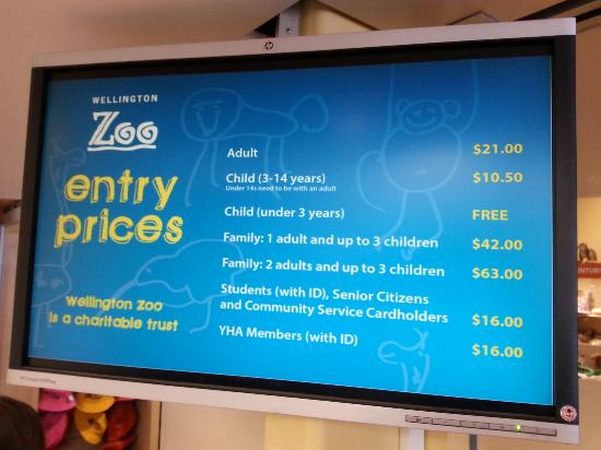Wellington Zoo : Admission entry prices.