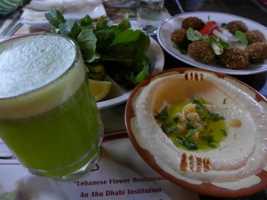 Lebanese Flower Khalidia: Lemon Mint Juice, Hummus and Falafel to start off the meal!