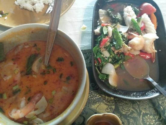 Thai Room: Tom yum and seafood pad knee mao.